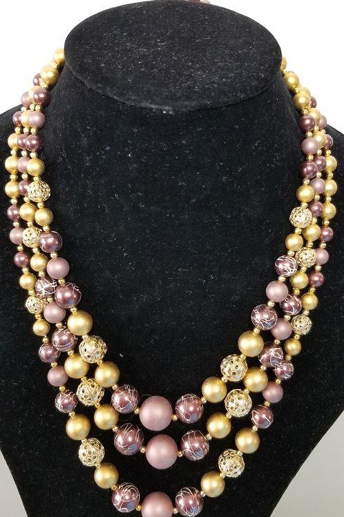Vintage Triple strands costume stones Jewelry
