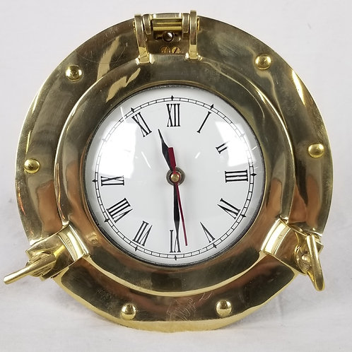 Nautical brass porthole clock