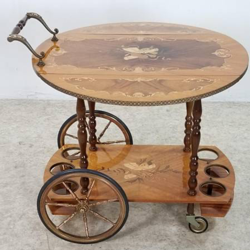 Hollywood Regency Italian Inlaid Tea Bar Cart