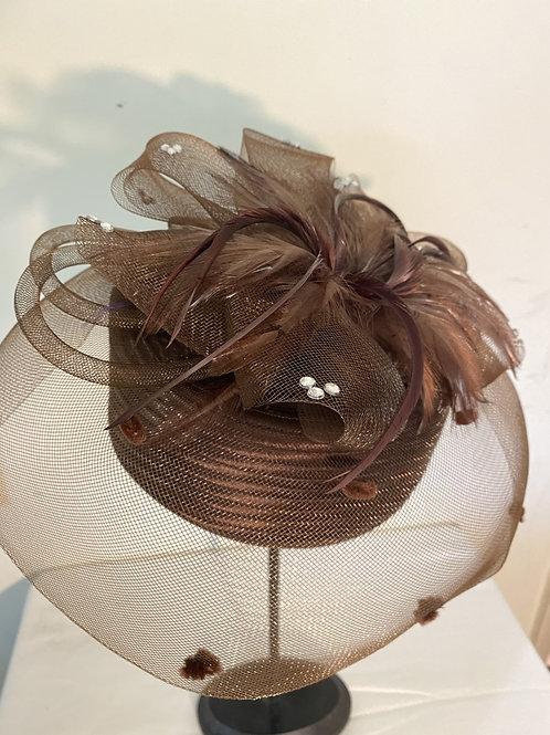 PILLBOX HAT BRAID HAT W/MESH,FEATHERS & RHINESTONES