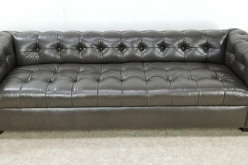 Leather Chesterfield tufted sofa