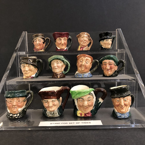 Royal Doulton original set Tinies Toby Mugs; set of 12 with stand; RARE set.