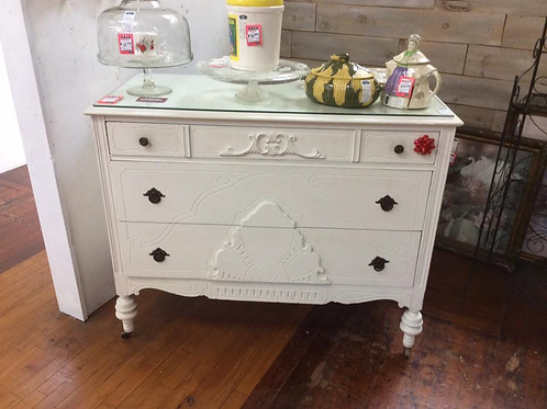 White buffet with Glass top