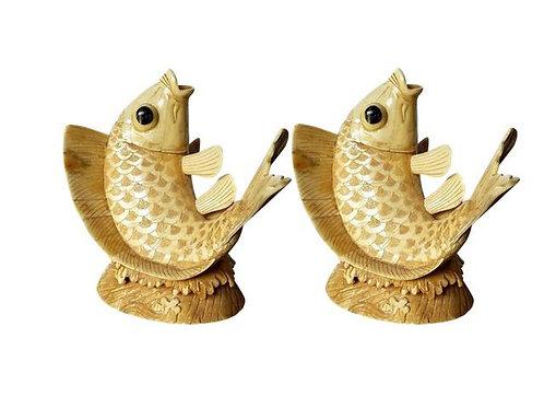 Inlaid Koi Fish Sculpture - Pair