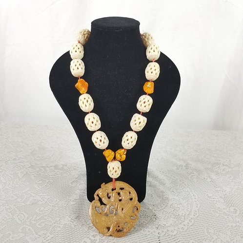 Bone, quartz and agate necklace.