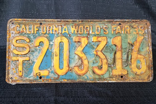 1939 California World's Fair License Plate