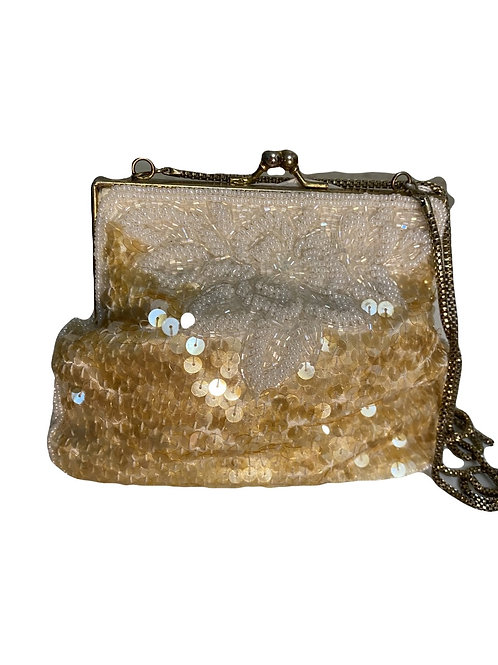 BEADED & SEQUIN PURSE W/CHAIN
