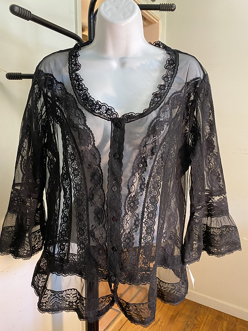 Black Sheer Lace Blouse size PL