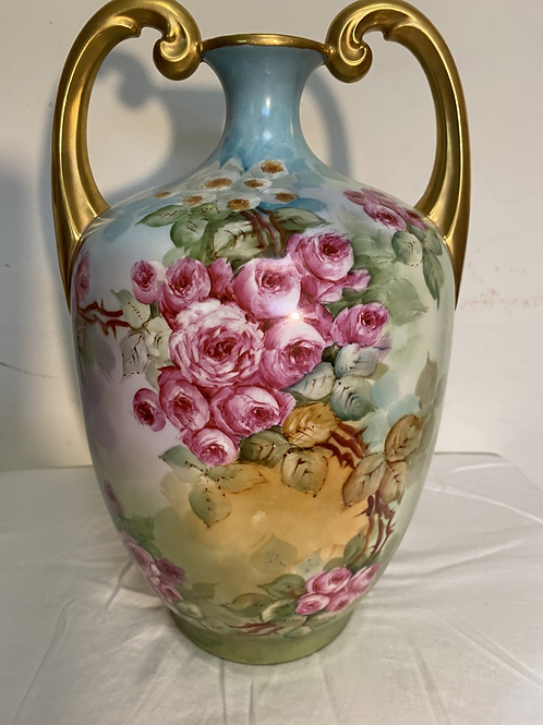 JP Limoges Roses Hand Painted Muscle Vase Signed