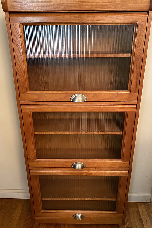 Barrister Bookcase with Glass Doors And Three Wood Shelves