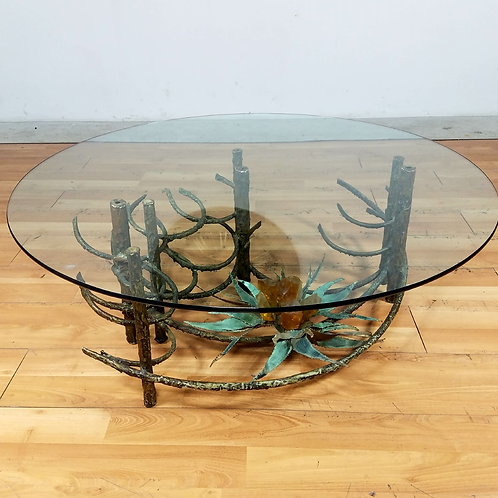 Midcentury Brutalist Coffee table with glass top