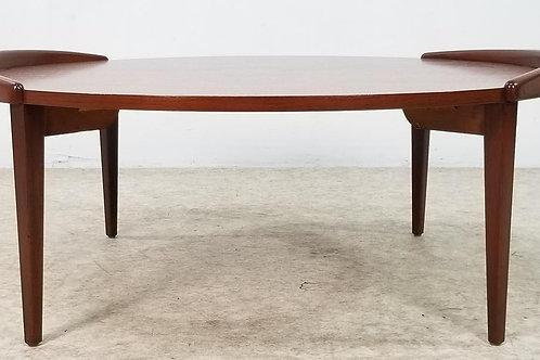 Mid century Danish Jens Risom walnut coffee table The Yin Yang