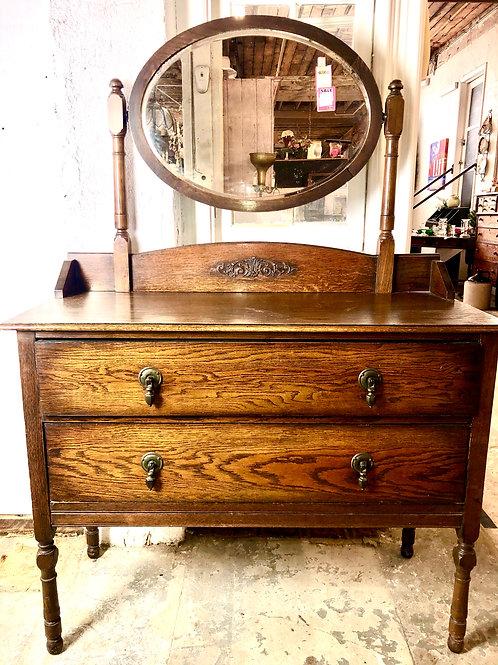 Vintage Oak 2 drawer with mirror Dresser