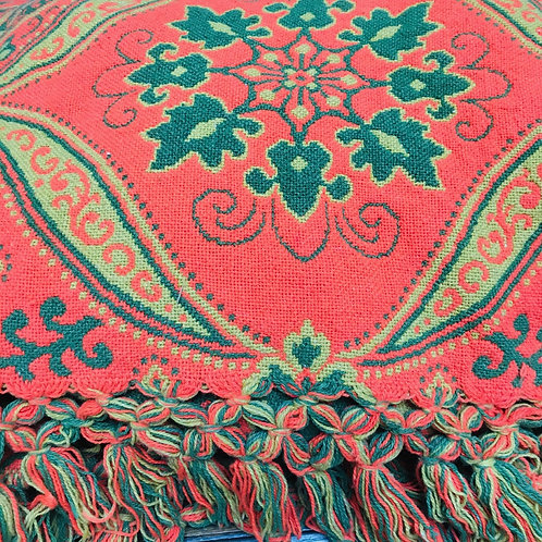 Loda Orange/Green Tapestry Blanket/Rug/Bed Spread