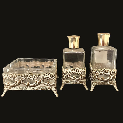 3 piece perfume/cologne glass container set