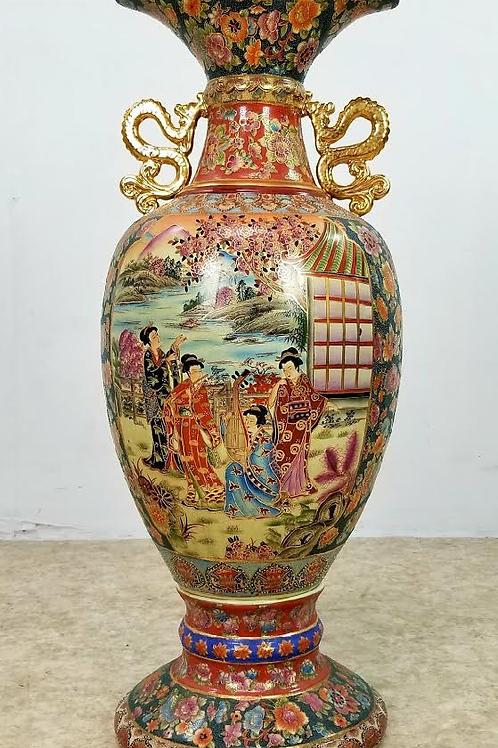 Large Satsuma Asian Porcelain Vase