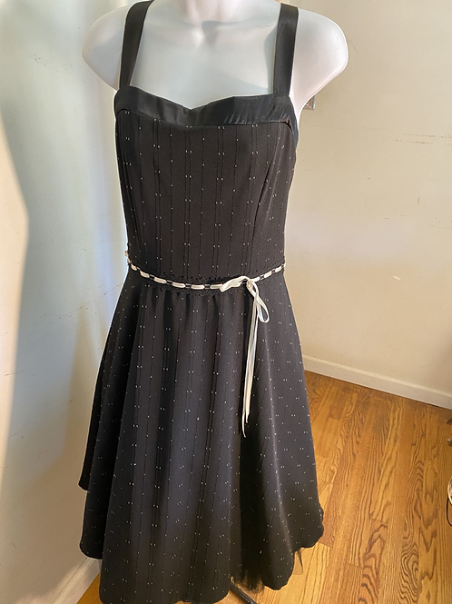Black Dress W/ White Ribbon Trim