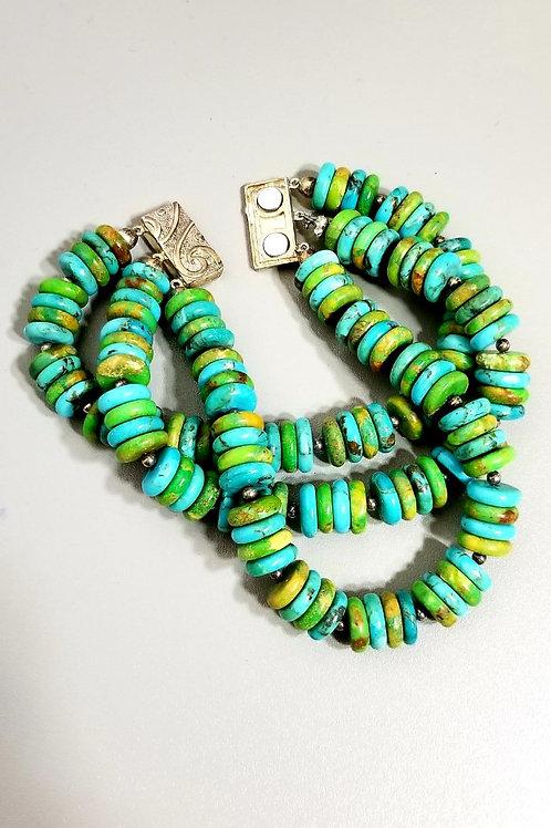 triple strands turquoise bracelet