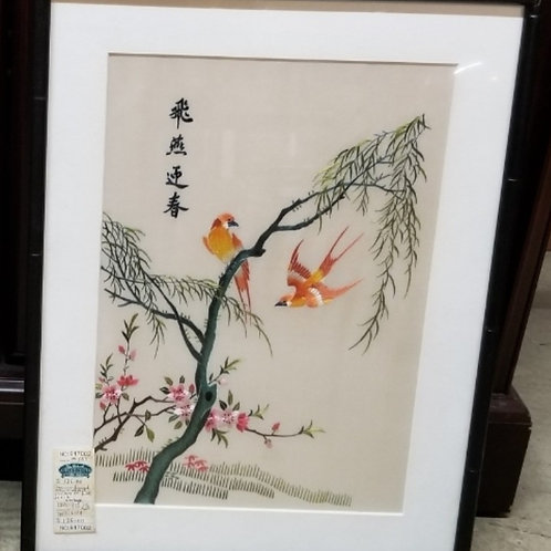 Vintage Embroidered picture of birds on silk