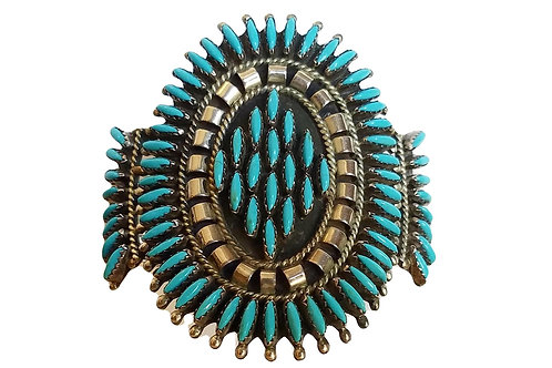 Vintage Silver and Turquoise Zuni Bracelet