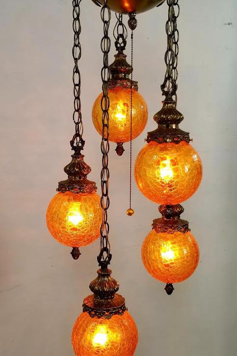 Hollywood Regency glam vintage mid century amber hanging chandelier