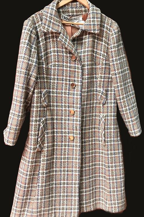 I. Magnin Plaid Long Coat+ Matching Skirt Set