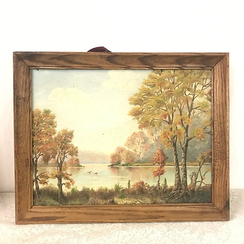 Lake Landscape Oil Painting 1955