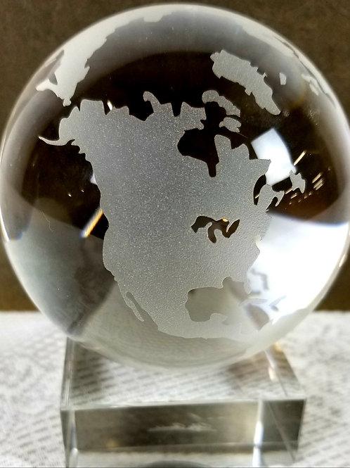 Crystal World Globe on Stand.