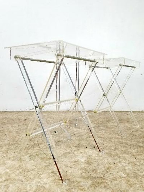 Mid century lucite folding table trays with holder