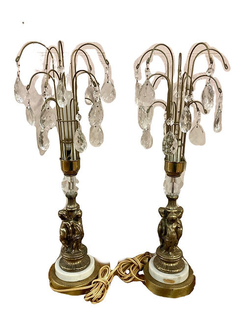 Pair Hollywood Regency Cherub Lamp with Prisms