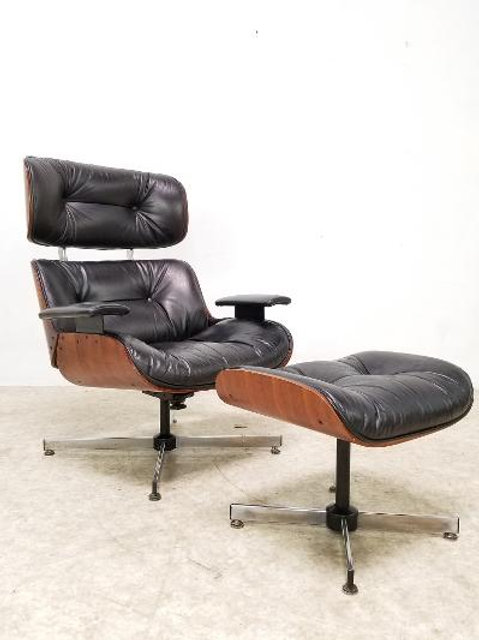 Mid Century Plycraft Eames style lounge Leather chair with ottoman