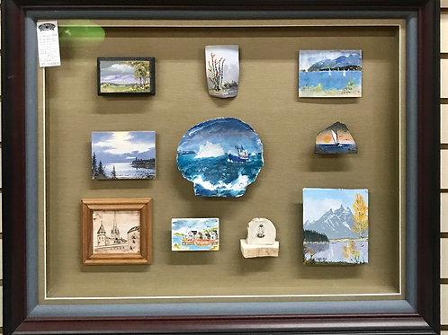 Shadow Box displaying miniature nautical scenes