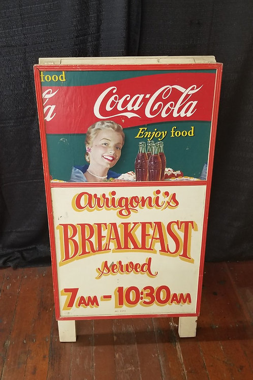 Wood Coca Cola Diner Advertisement Sidewalk Sign