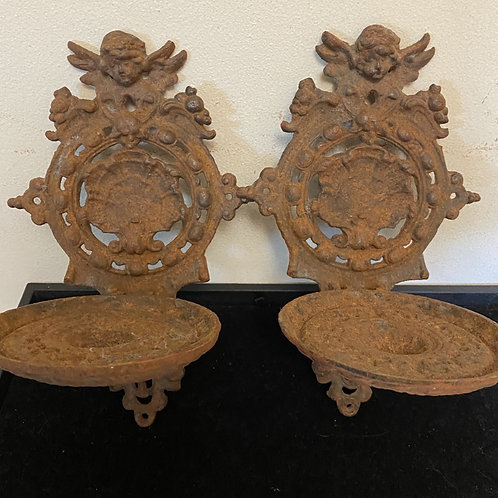 ANGEL CANDLE HOLDERS CAST IRON