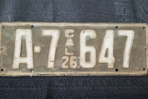 1926 California License Plate