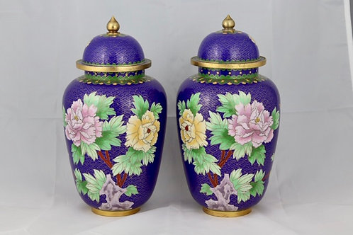 Blue Cloisonné Jars (Pair)