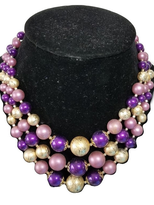 Colorful vintage rhinestone costume Jewelry necklace.