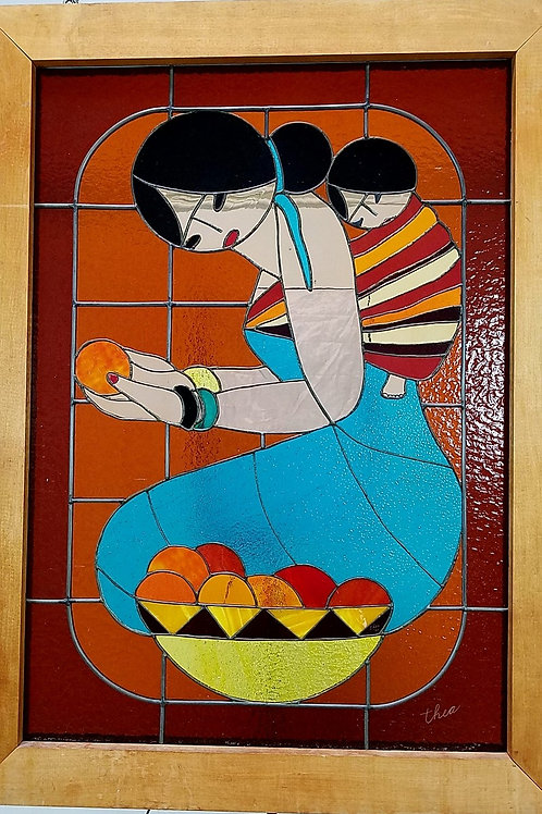Native American Motive Stained Glass Art