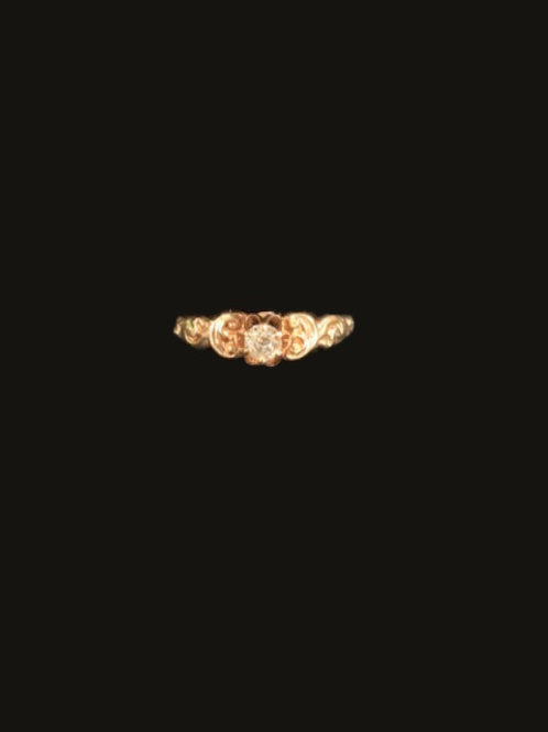 14KT Antique 1 Diamond Ring