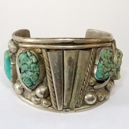 Sterling and Turquoise Thick Bracelet.