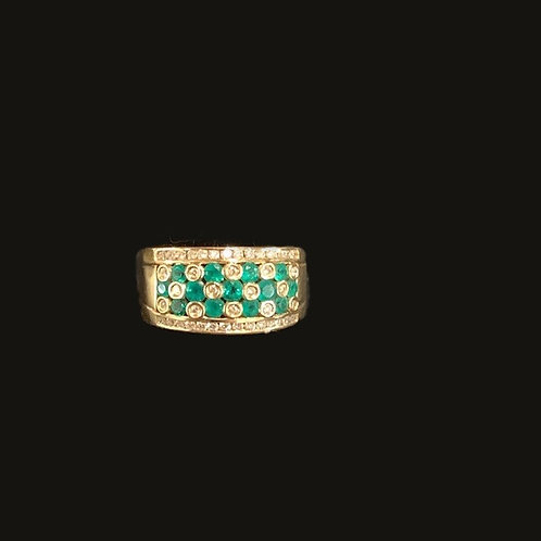 "14KT Yellow Gold ""Christina"" 42 Diamonds 13 Emeralds"