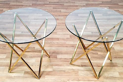 Mid Century Modern end Tables with glass top
