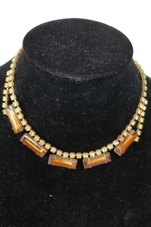 Vintage costume Jewelry rhinestone necklace.