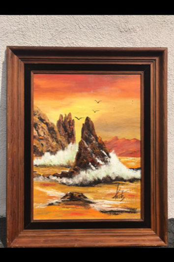"""Sunset Scene oil on Canvas by """"kits"""""""