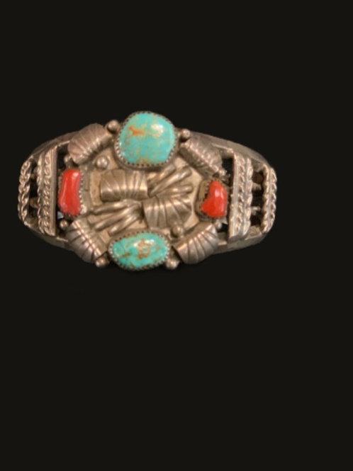 sterling coral turquoise Bracelet