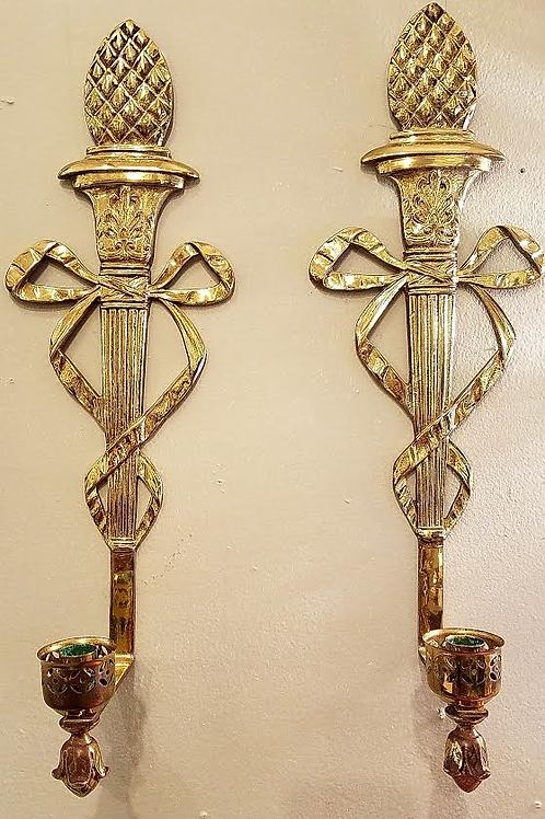 Wall Brass Italian candle holders Pair
