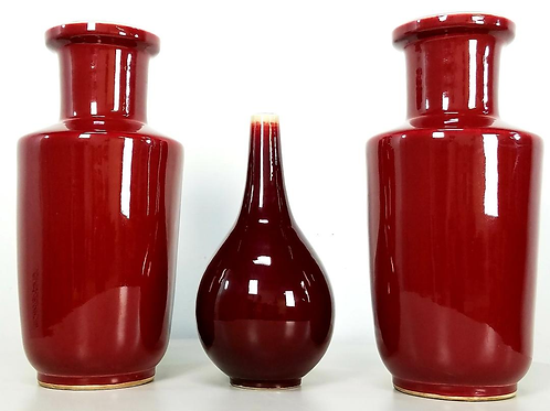 Asian Oxblood porcelain urn vase set