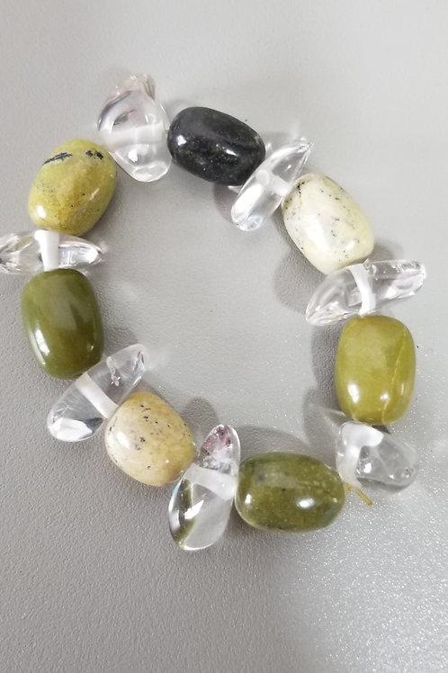 Crystal and stone bracelet