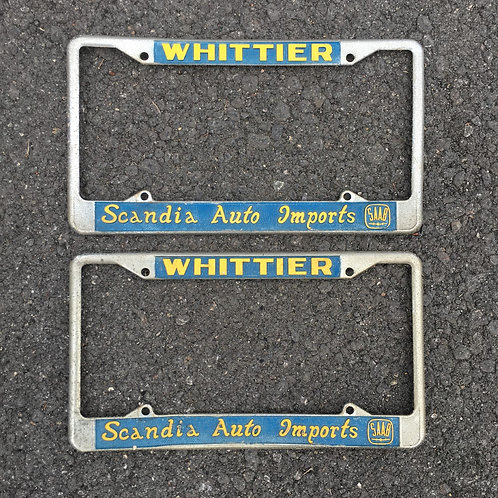 vintage 1970's Whittier Saab Dealer License Plate