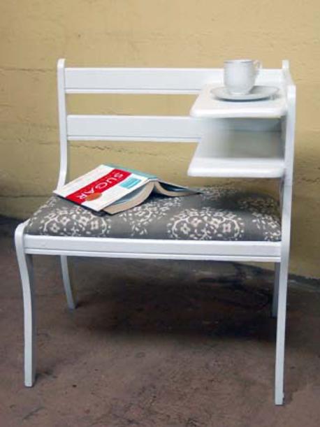 white telephone chair